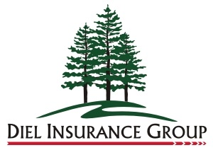 Diel Insurance Group logo a hill with three tall pine trees representing service, value and relationships which matter to us and our partner insurance companies